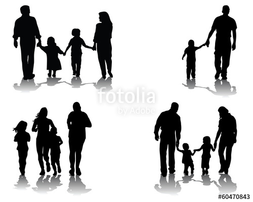 500x400 Black Silhouettes Shadows Of Families, Vector Stock Image