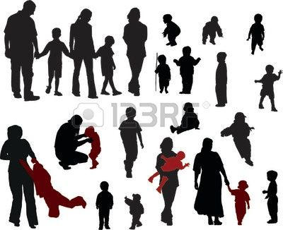 400x326 Vector Silhouettes Of Family (Mother, Father, Boys And Girls