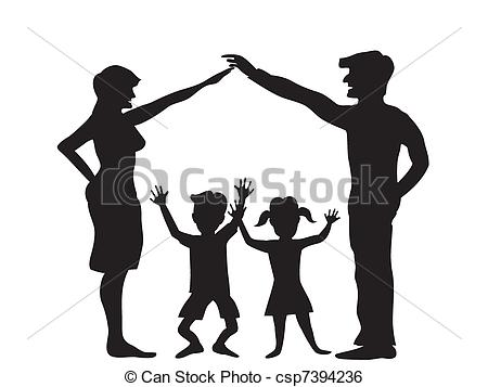 450x357 The Silhouette Of Family Symbol Clip Art Vector