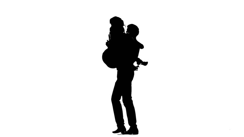 852x480 Silhouette Of Family On White Background. Stock Footage Video