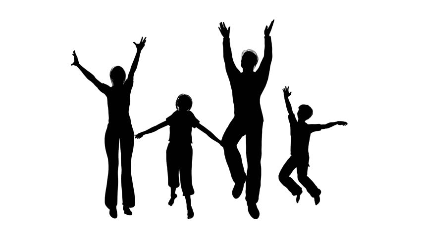 852x480 Happy Family Of Four Silhouette Stock Footage Video 344590
