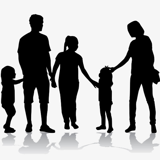 555x555 Silhouette Of A Happy Family, Marriage, Happy, Happiness Png Image