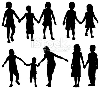 380x339 Free Clipart Silhouette Family With Young Children Holding Hands