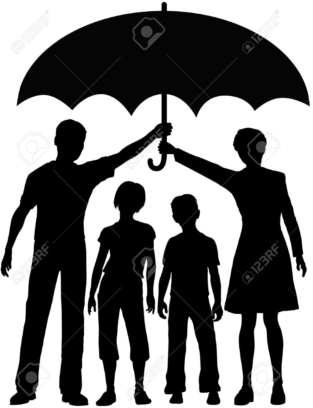 999x1300 Family Parents Hold An Umbrella To Protect Kids Royalty Free