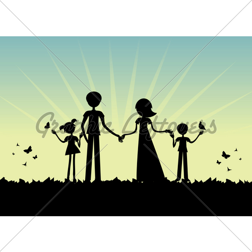 500x500 Young Family Silhouette Gl Stock Images