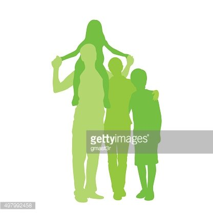416x416 Family Silhouette, Full Length Couple With Two Kids Embracing