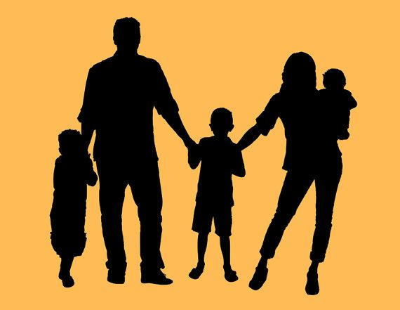 570x441 Custom Family Portrait Silhouette For 5 People By Chickadeedigital
