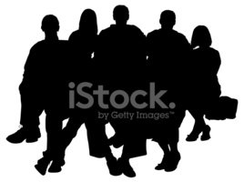 268x200 Large Family Portrait Silhouette Stock Vectors