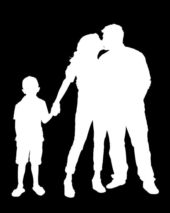 570x712 Custom Family Portrait Silhouette For 3 People By Chickadeedigital