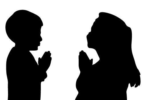 Family Praying Silhouette