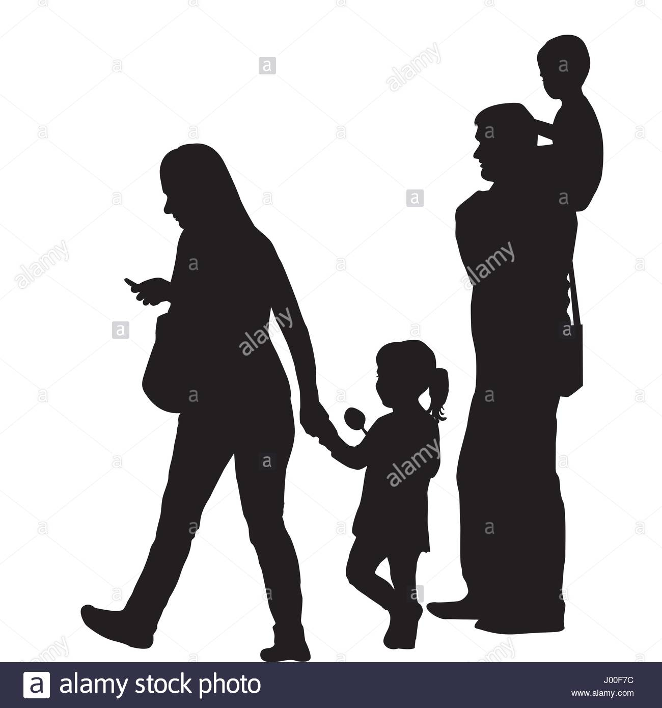 1300x1390 Modern Family Silhouette With Two Children Stock Vector Art