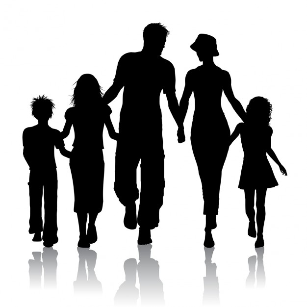 626x626 Silhouette of a family walking together Free Vector KOMPAKT