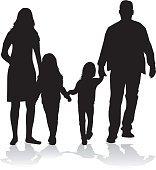 156x170 Family Silhouettes Premium Clipart