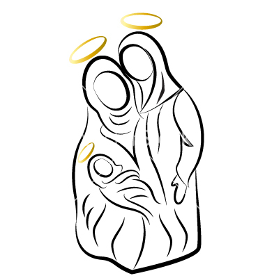 380x400 Nativity Silhouette Free Nativity Family Silhouette Vector By