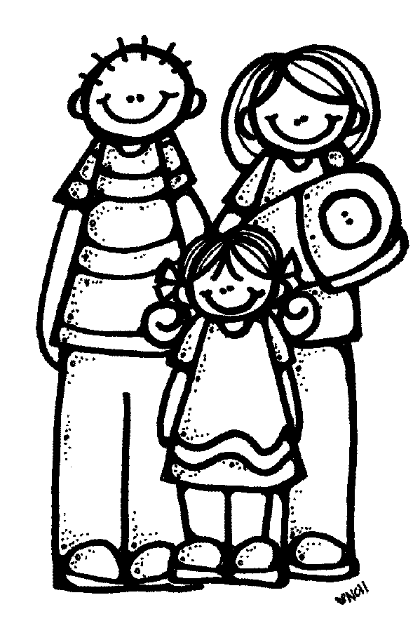 599x895 Free Family Clipart Black And White Image