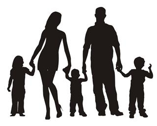320x257 Family Silhouette 2 Decal Sticker