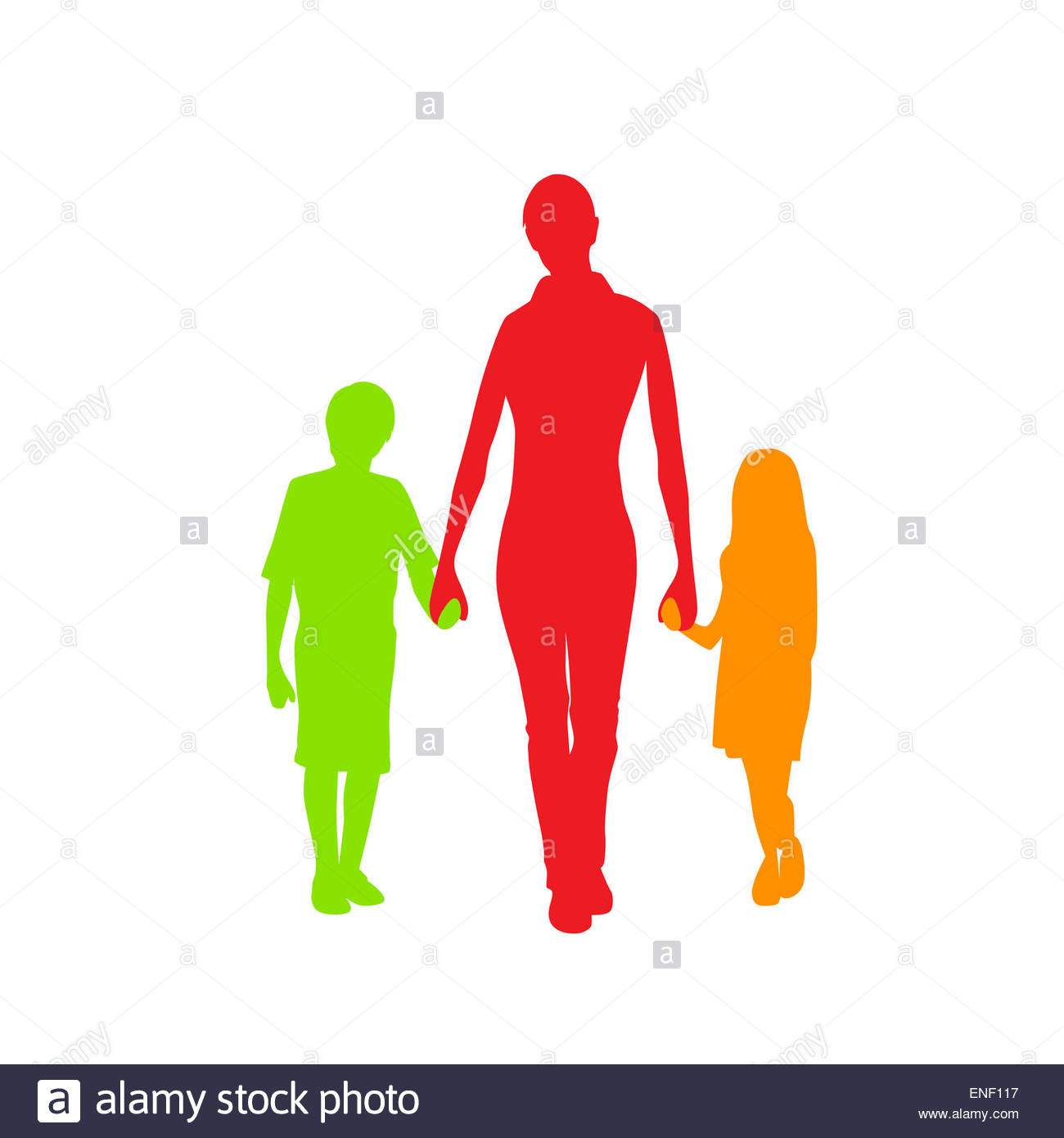 1300x1390 Family Silhouette Mother With Two Kids Holding Hands Stock Photo