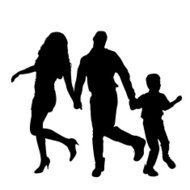 190x190 Family With Two Children Silhouette Vector Premium Clipart