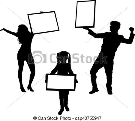 450x405 Silhouette Family With Placards. White Background. Eps Vector