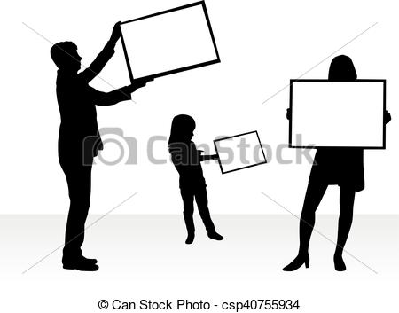 450x353 Silhouette Family With Placards. White Background. Vectors