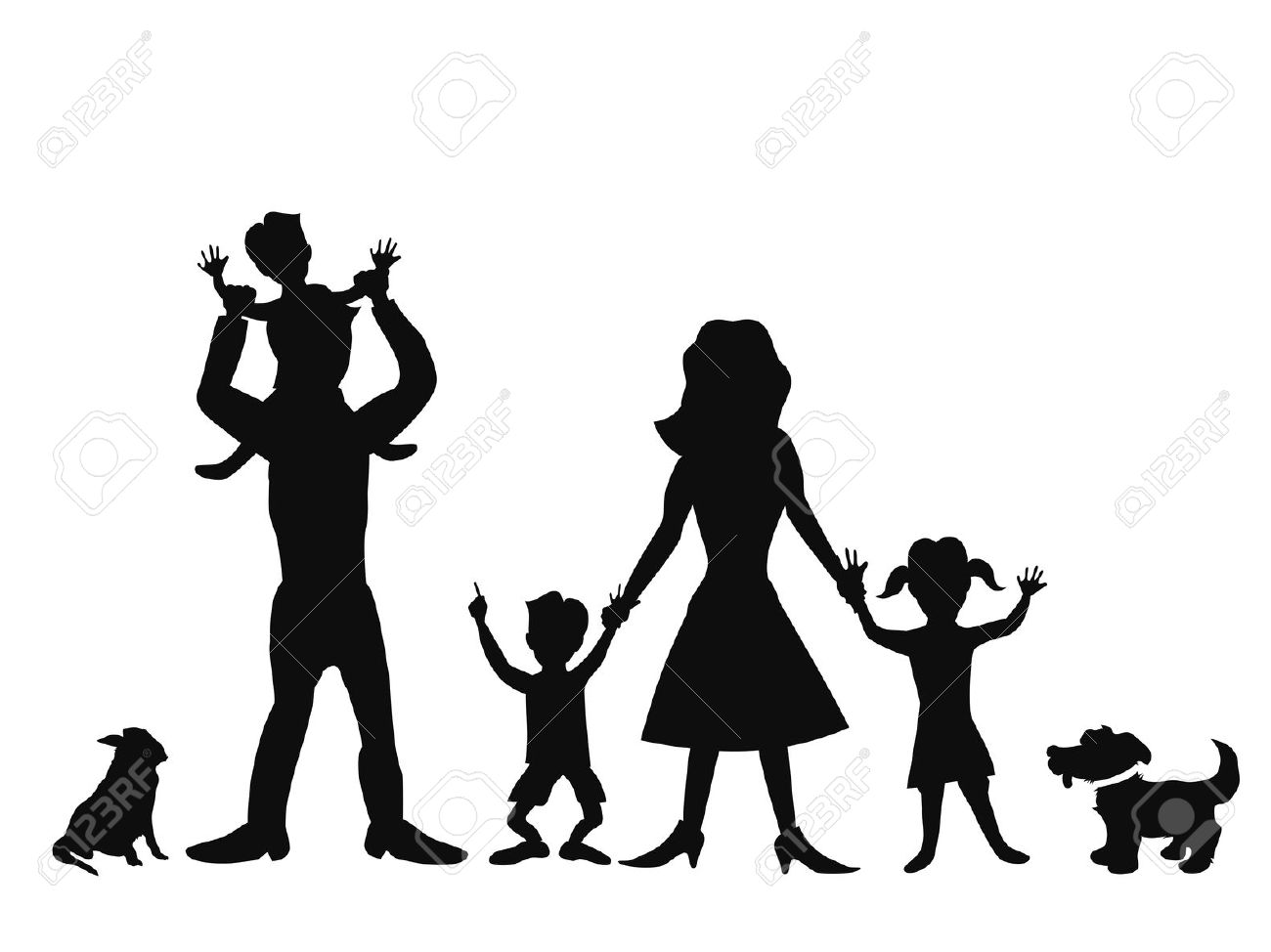1300x974 Stick Family Silhouette Clipart