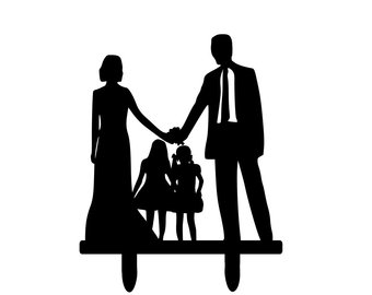 340x270 Big Bride And Groom Silhouette Wedding Cake Topper Family