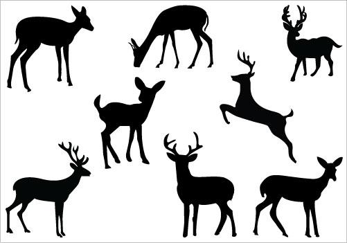 501x351 Deer Family Silhouette Clip Art