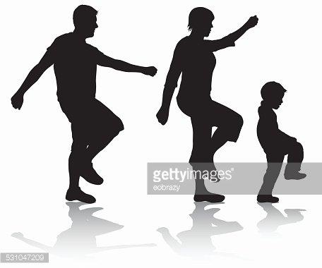 456x380 Family Walking Silhouettes Premium Clipart