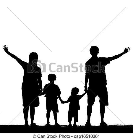 450x470 Silhouette Of Family On White Background. Stock Illustration