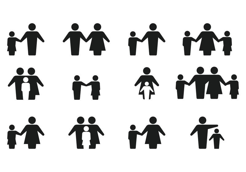 800x560 Simple Silhouette Family Icon Vectors