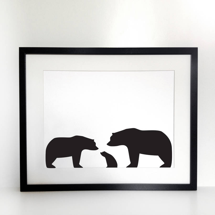 900x900 Bear Family, Personalised Silhouette A4 Print By Heather Alstead