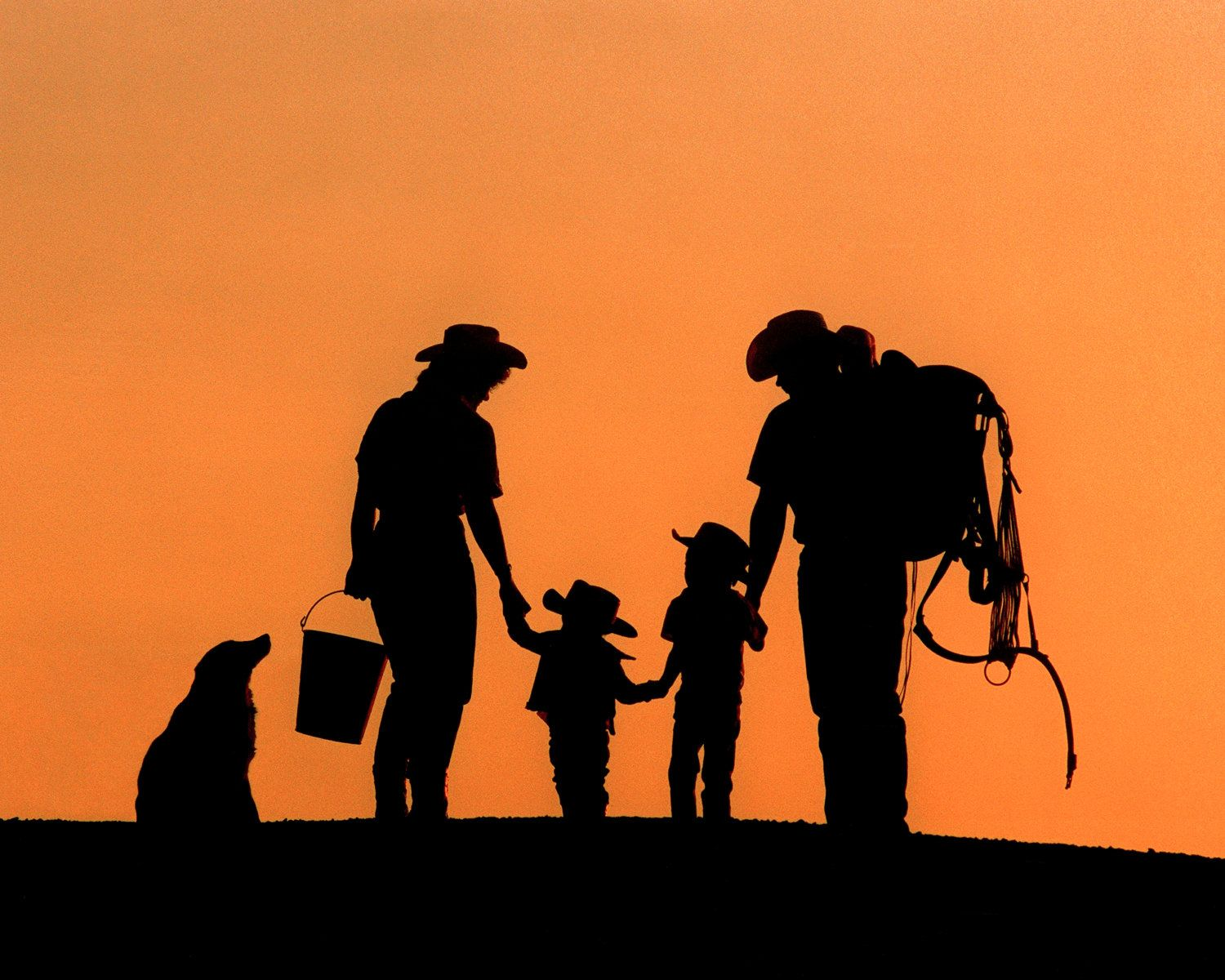1500x1200 Country Silhouttes Western Family Silhouette By Windwardgiftshop
