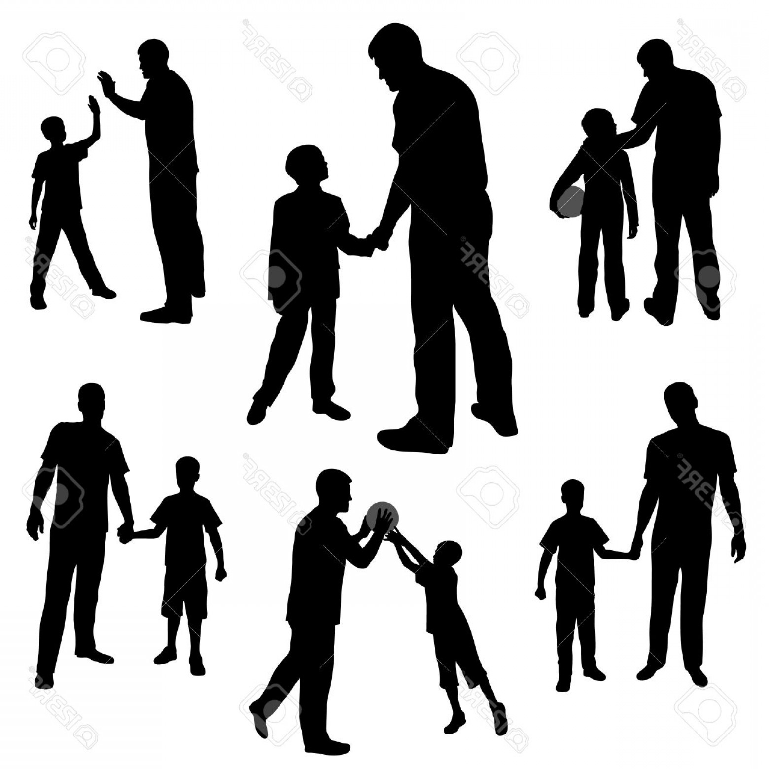 1560x1560 Family Talking Silhouette Vector