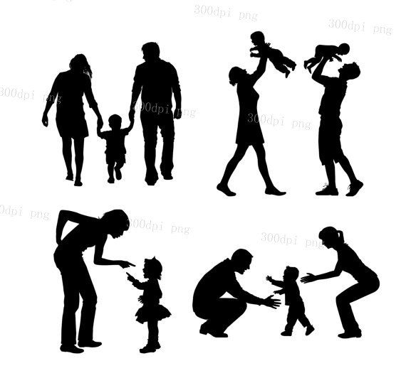 570x532 Family Silhouette Digital Clipart Vector Eps Png Files Clip