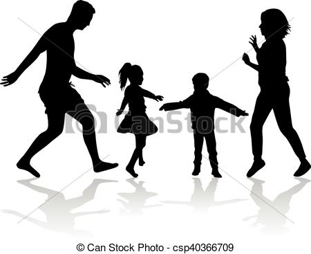 450x367 Family Silhouettes Silhouette Of A Happy Family. Vector Clipart
