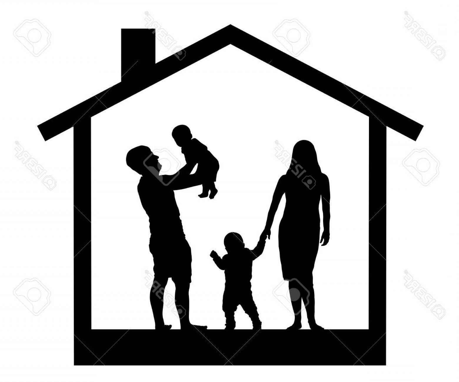1560x1299 House In Family Vector Silhouette Arenawp