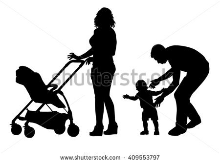 450x334 Clipart Family On A Walk With Stroller Silhouette
