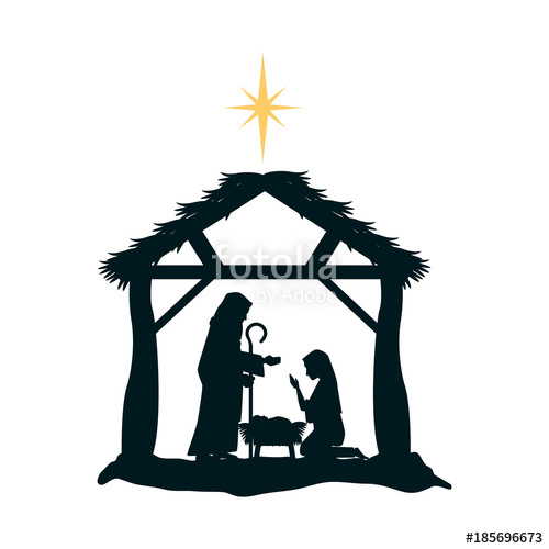 500x500 Holy Family Silhouette In Stable Christmas Characters Vector