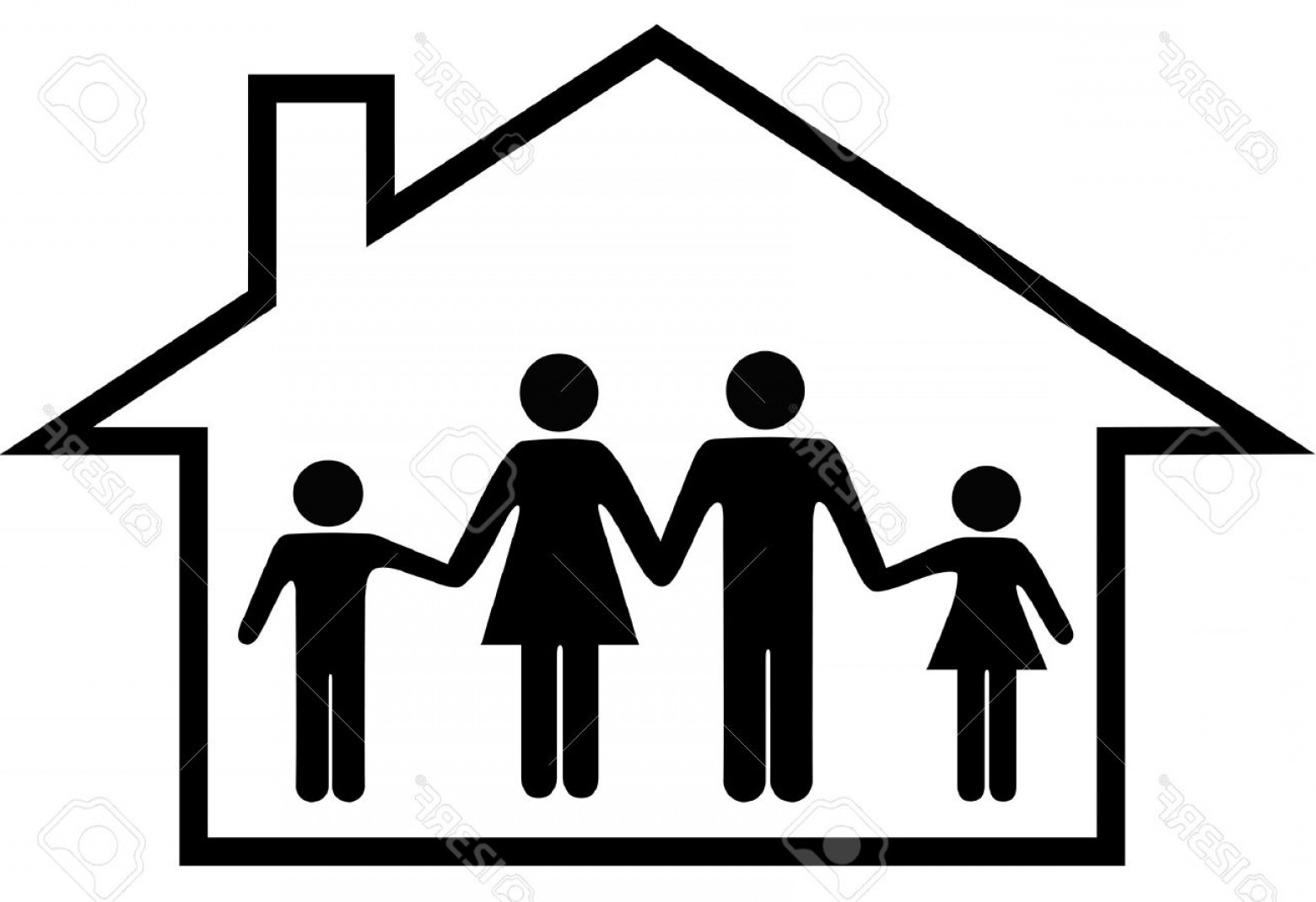 1560x1069 House In Family Vector Silhouette Arenawp