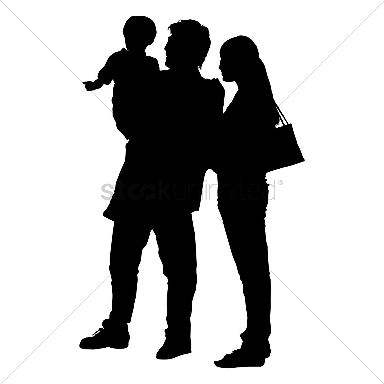 1300x1300 Silhouette Of A Family Vector Image