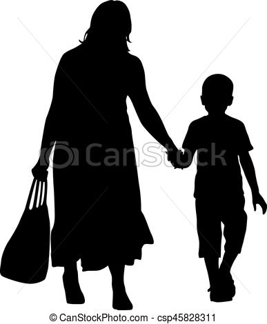 387x470 Silhouette Of Happy Family On A White Background. Vector Clip Art