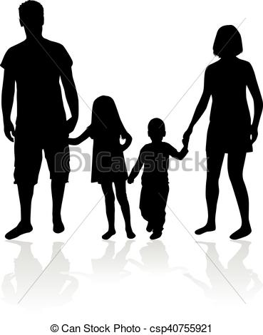 369x470 Vector Silhouette Of Family. White Background. Vector Illustration