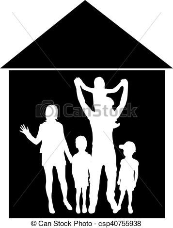 357x470 Vector Silhouette Of Family.the House In The Background. Vectors