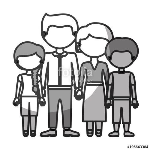 500x500 Silhouette Monochrome Shading Faceless Family Group In Formal Suit