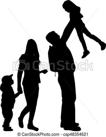 362x470 Family Silhouette Vector Illustration