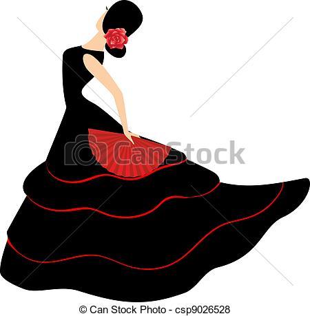 450x459 Flamenco Dancer. Spanish Girl With Fan Dances A Flamenco