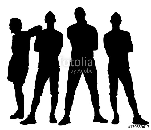 500x430 Handsome Young People Posing Vector Silhouette Illustration
