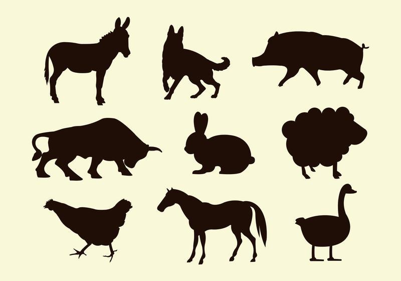 800x560 Silhouettes Of Farm Animal Vectors