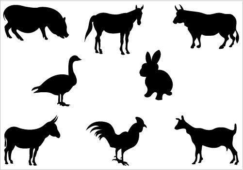 501x352 This Is An Awesome Farm Silhouette Vector Included With Animal