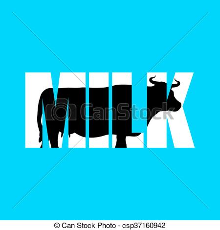 450x470 Milk. Silhouette Of Cow In Text. Farm Animals And Eps Vector